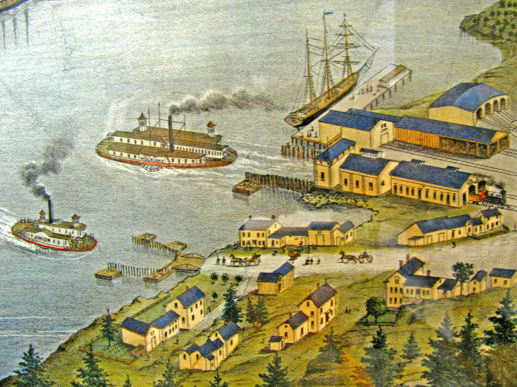 Kennebec-River ferries in Woolwich. Detail of 1878 bird's-eye map of Bath, Maine