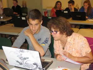 A Morse High School students works on the Common App at the Pizza Pity Party (2013).