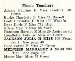 List of music teachers in Bath in 1922